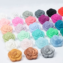 30 PCS 3 Colors 21MM Double Face Silicone Flower Beads Rose Teething Charm Teether Baby HOT Sale Nec