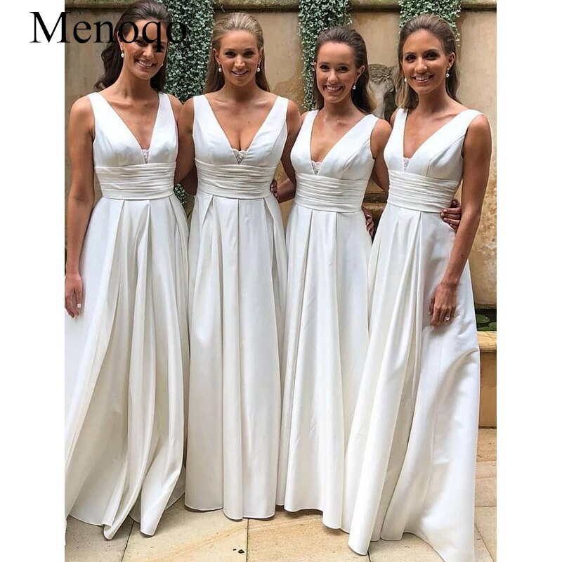 2020 Country Bridesmaid Dresses for Wedding A-Line Sleeveless Floor-Length with Ruched Satin Dresses