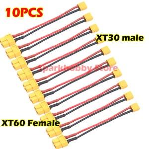 XT60 macho hembra conector de enchufe a XT30 hembra macho enchufe 18AWG Cable de silicona suave para RC Lipo batería 100mm 10cm