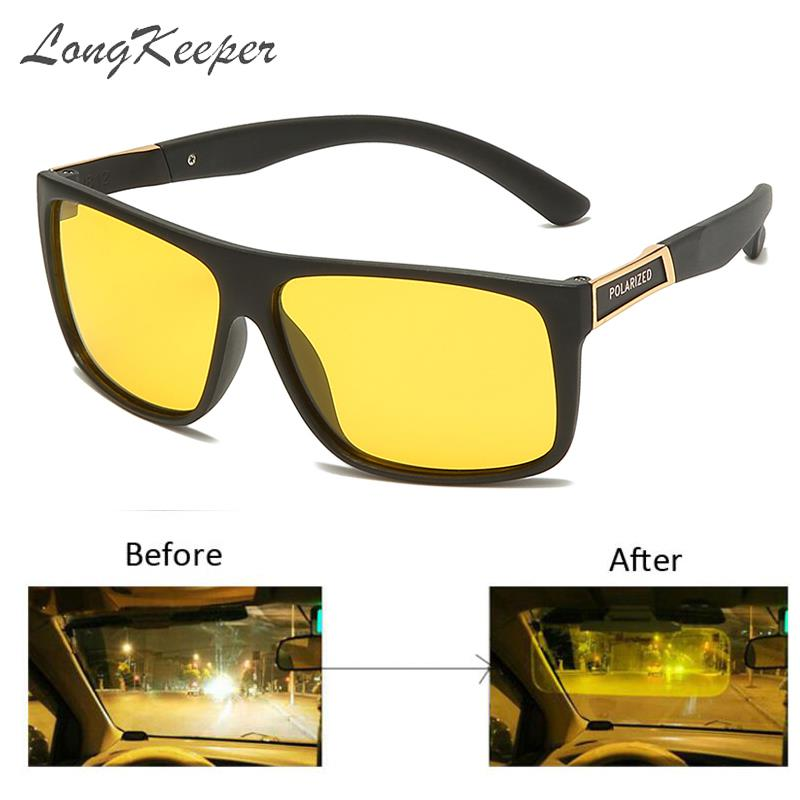 LongKeeper TR90 Night Vision Glasses Men Car Driving Sunglasses Women UV400 Yellow Lens Anti-glare o