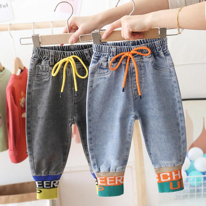 Детские джинсы на рост 80 130 см, весна осень, кашемировые повседневные длинные брюки, модные открытые штаны в рубчик, новинка зимы 2020 Джинсы    АлиЭкспресс