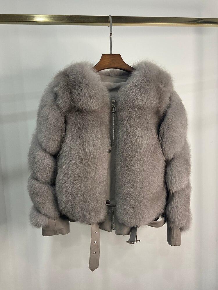 2021 Winter Female Women Fashion Locomotive Style Real Fox Fur Coats Genuine Sheep Leather Jacket Moto Biker Fox Fur Coat