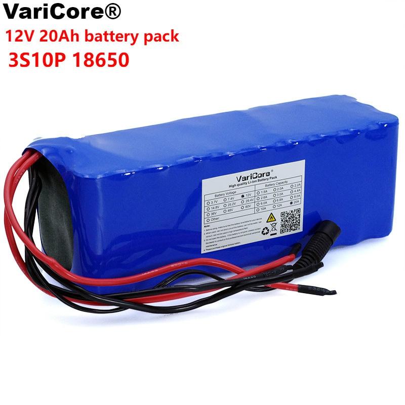 VariCore 12V 20Ah 18650 lithium battery 12.6v 20000mah capacity Miner lamp 100w 800W high power batteries with BMS