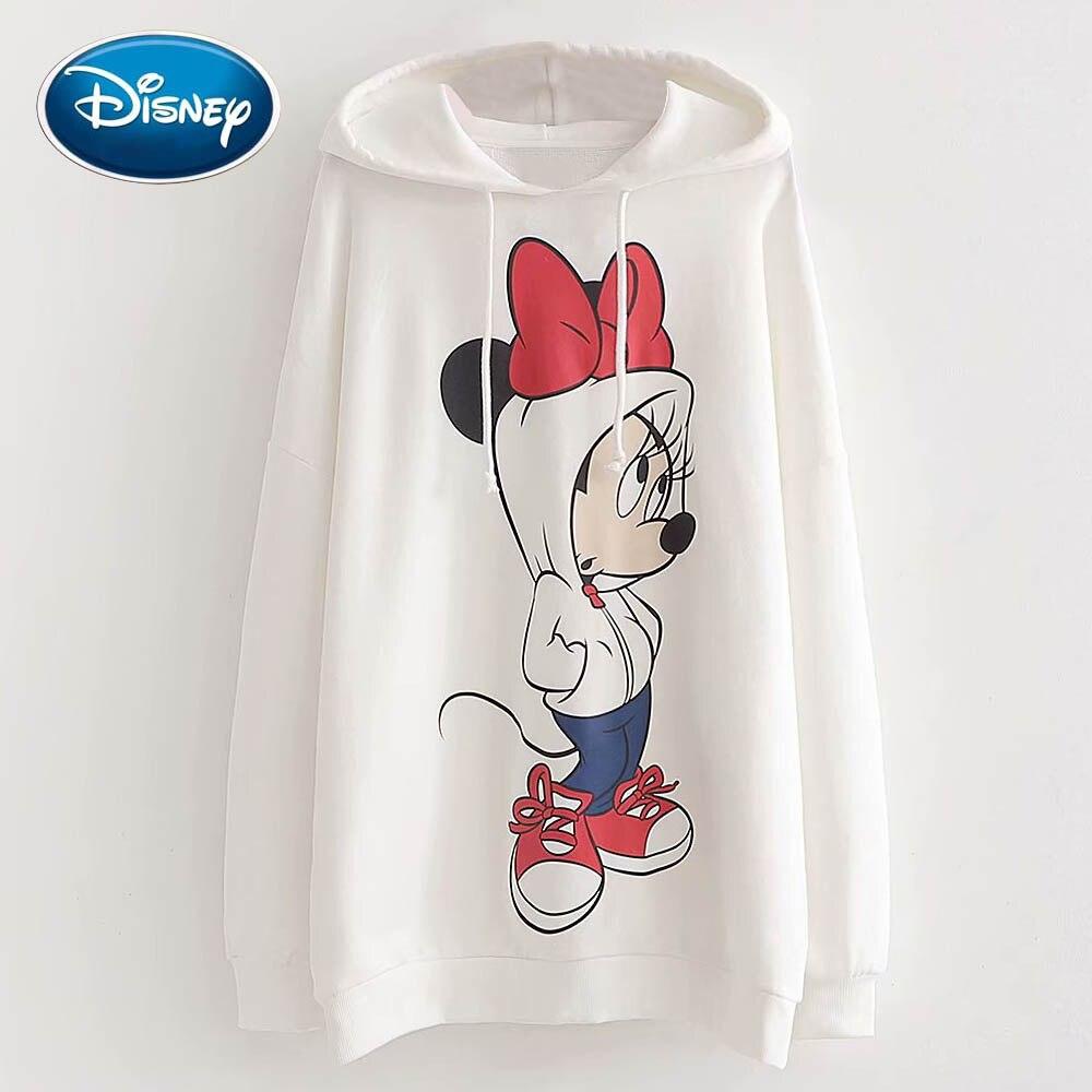 Disney модная Милая белая женская футболка с принтом Минни Маус и бантом, пуловер с капюшоном и длинным рукавом, повседневные свободные топы Харадзюку