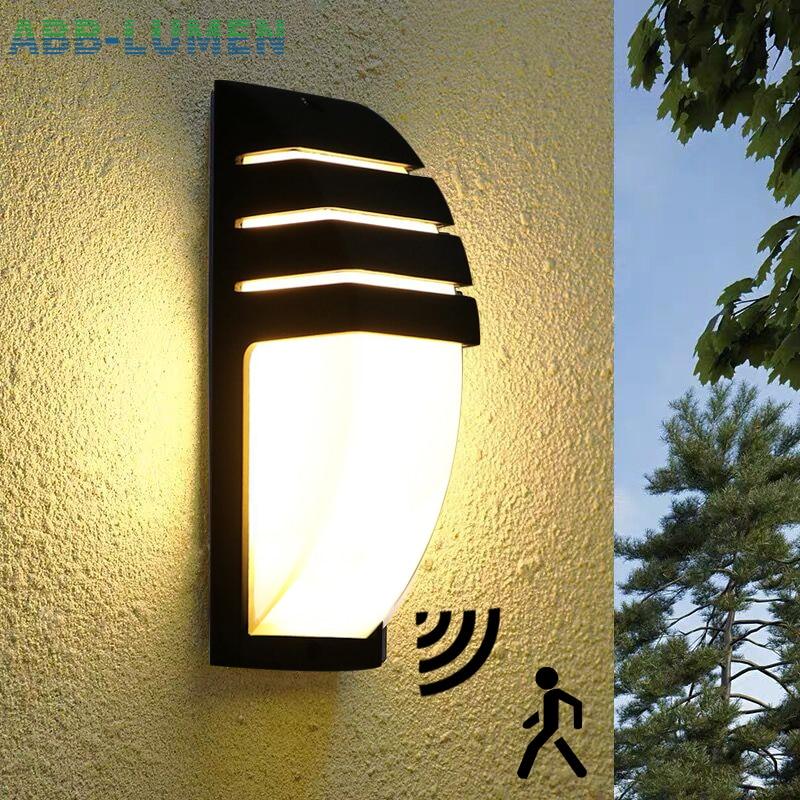 مصباح جداري LED خارجي مقاوم للماء مع مستشعر حركة ، رادار ، شرفة ، إضاءة خارجية
