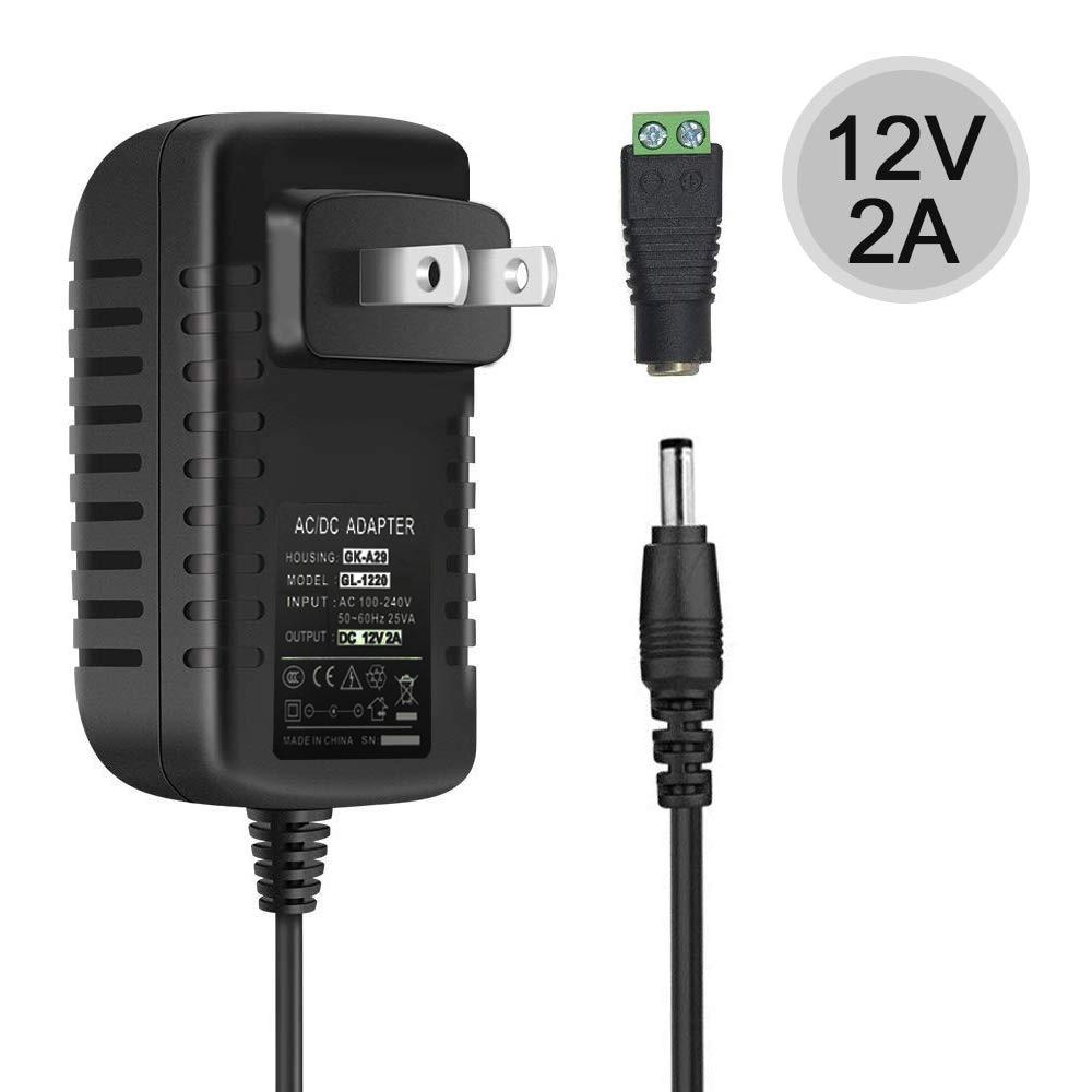 12V LED tira fuente de alimentación 2A 24W montado en la pared 12V fuente de alimentación de conmutación para tira de luz LED con 5,5/2,1 CC