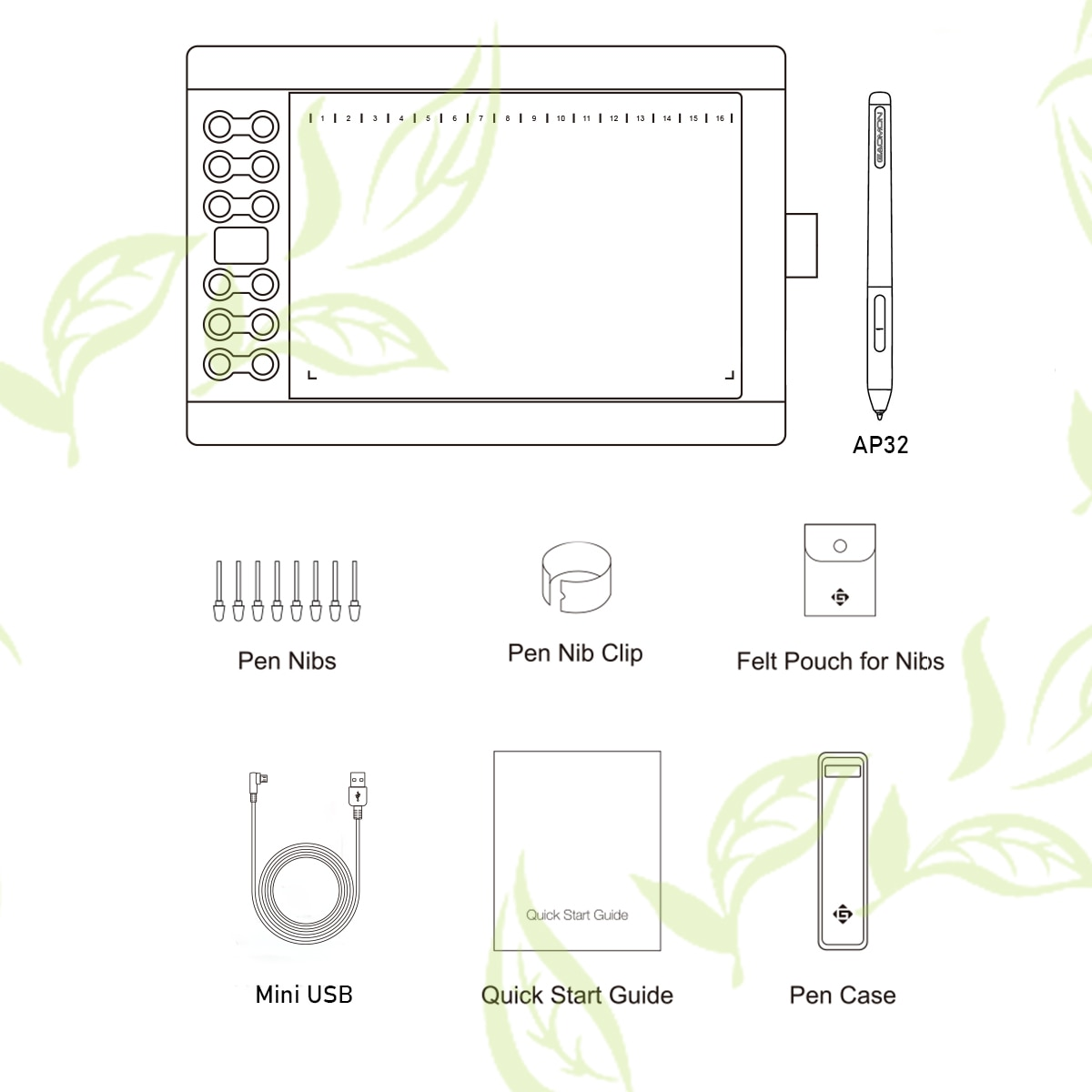 GAOMON M106K PRO 10'' Graphics Drawing Tablet with 8192 Levels Tilt Supported Battery-free Stylus  for Windows/mac/Android OS enlarge