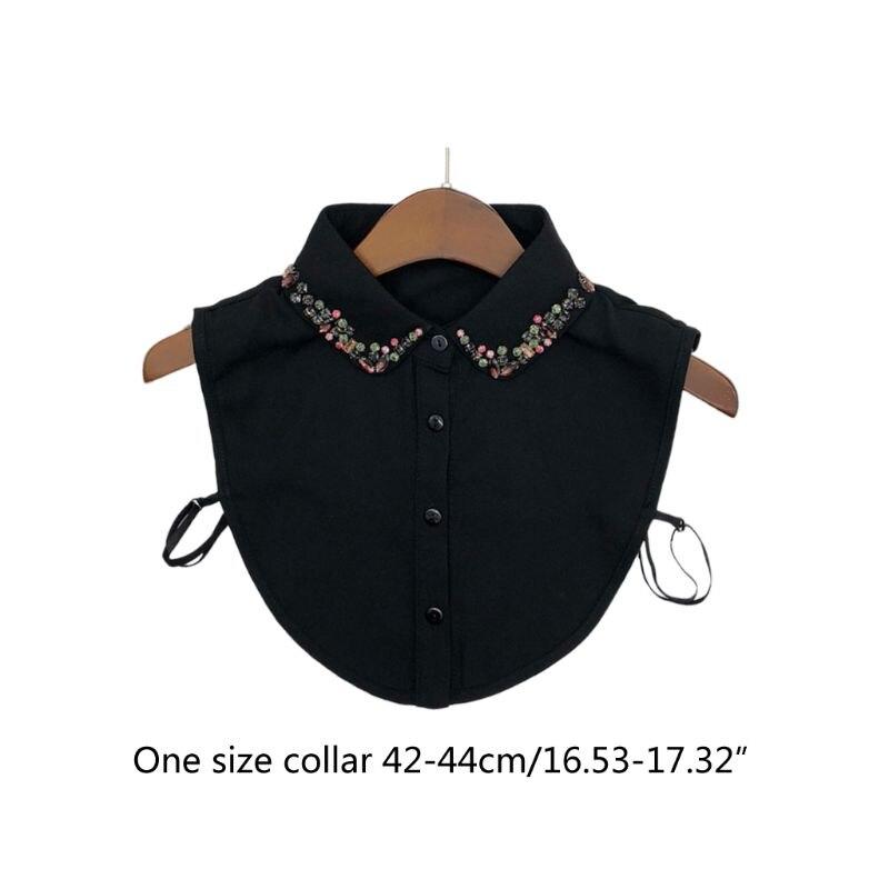 Feminino chiffon lapela destacável colar falso contas de vidro colorido broca meia camisa y5gc