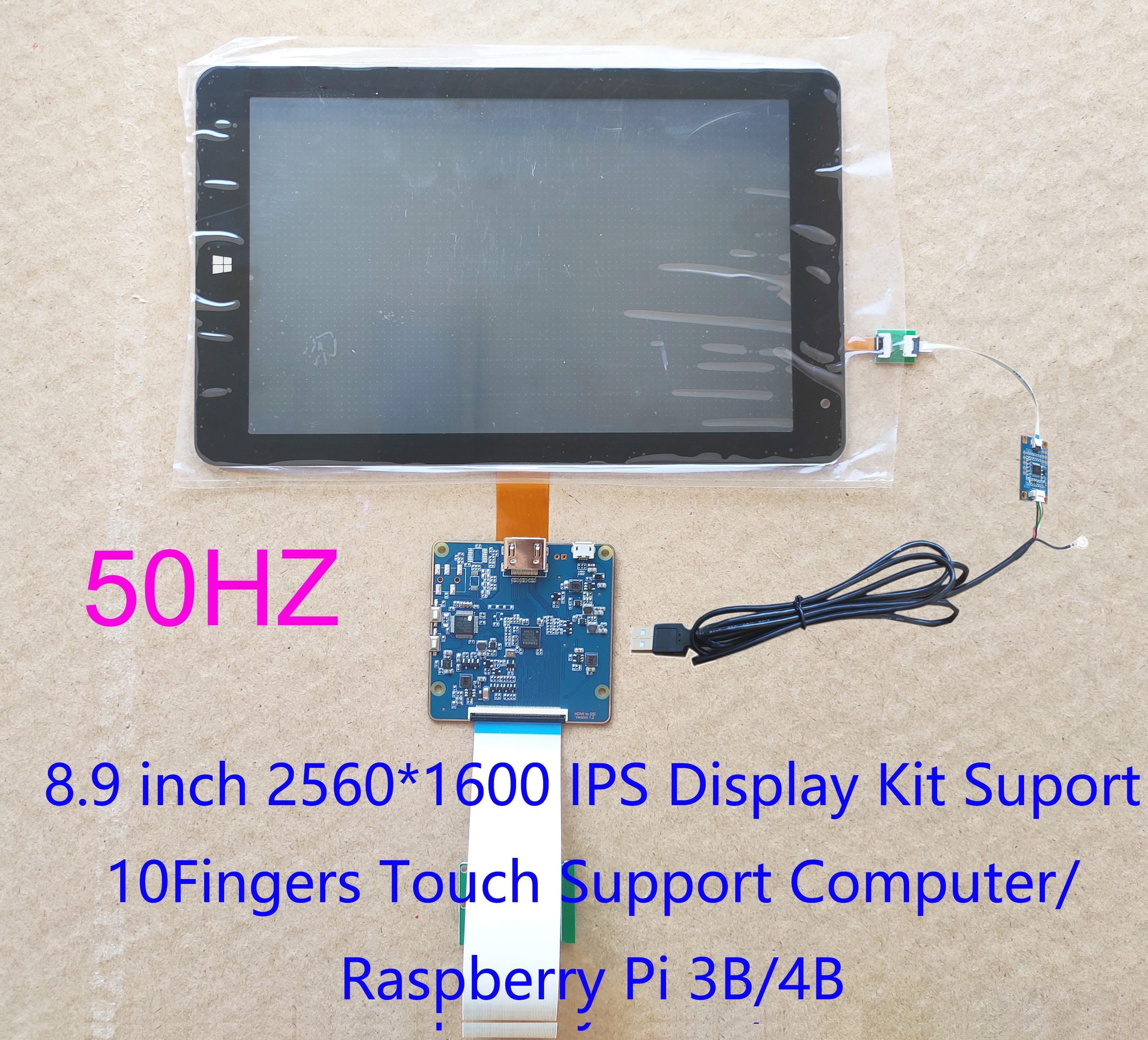 8,9 pulgadas TFTMD089030 2560*1600 2K HD kit pantalla MIPI To HDMI compatible con Raspberry Pi 3/4 USB capacitiva Digitalizador de pantalla táctil