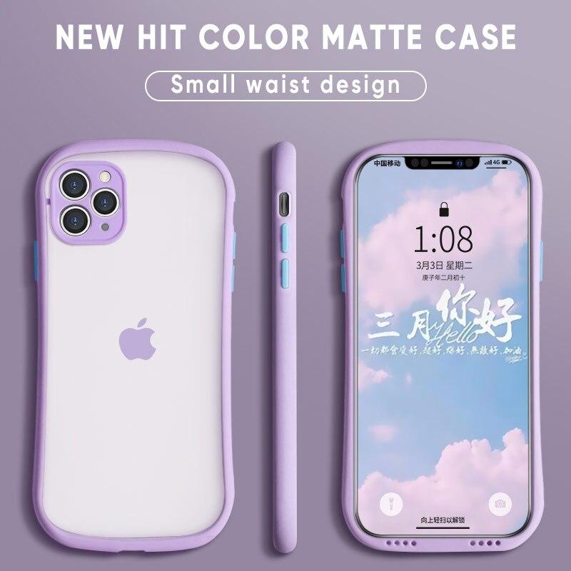 Qixtwo ultra fino hit cor cintura pequena transparente fosco caso de telefone para iphone 11 pro max x xs xr 7 8 plus se 2 silicone capa