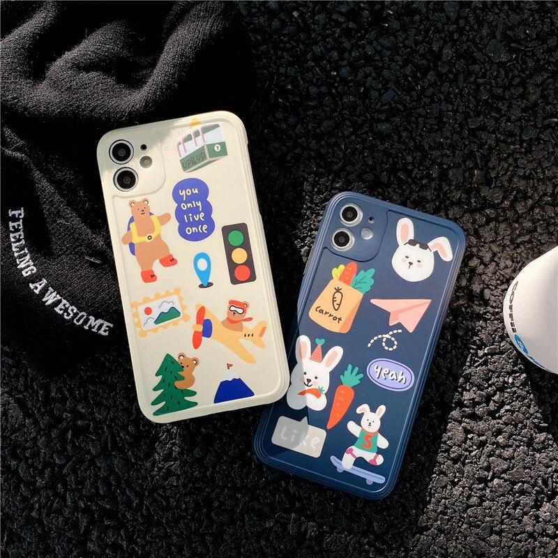 Cute Cartoon Animal Graffiti Bear Rabbit Phone Case For iPhone 11 Pro Max Xr X Xs Max 7 7PLus 8 Plus Cases Soft Silicone Cover