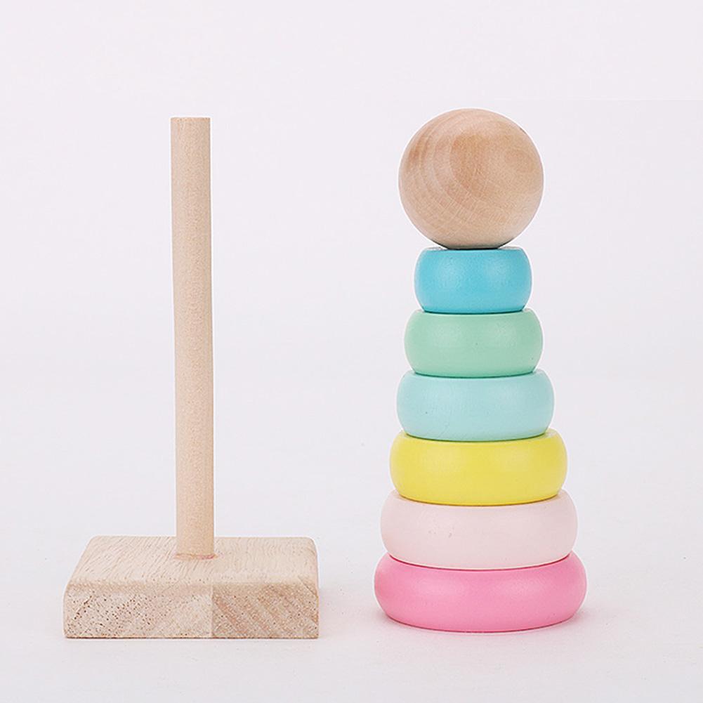 Bloques de madera de apilamiento de macarrones juguetes educativos para niños