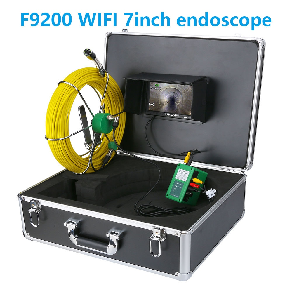 20m 30m 50m câmera de vídeo de inspeção de tubulação de esgoto com wifi 22mm canera ip68 dreno esgoto pipeline endoscópio industrial tela 7 polegada