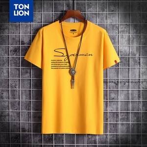 Summer High Quality Plus Size Men's Tshirt Letter Printed White Tops Short Sleeve Yellow O-neck Cotton Tee Dropshipping