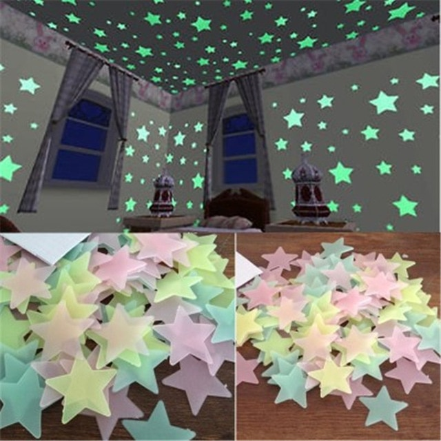 child s room wall stikers 100pcs 3d stars glow shine in the dark luminous wall glowing stickers for living room home decoration 100pcs 3D Stars Glow In The Dark Wall Stickers Luminous Fluorescent Wall Stickers For Kids Baby Room Bedroom Ceiling Home Decor