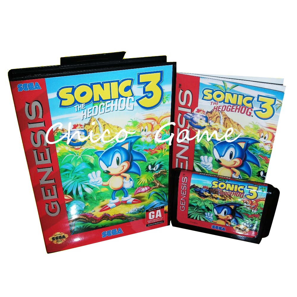 Sonic el Hedgehog 3 con caja y Manual para consola de videojuegos Sega megadive tarjeta MD de 16 bits