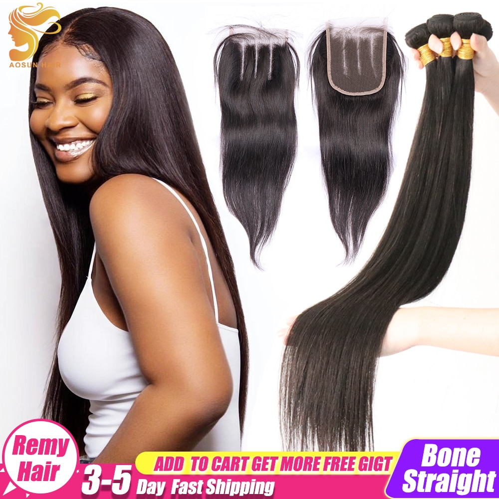 AOSUN Bone Straight Hair Bundles With Closure Brazilian Hair Weave Bundles 100% Human Hair Extension