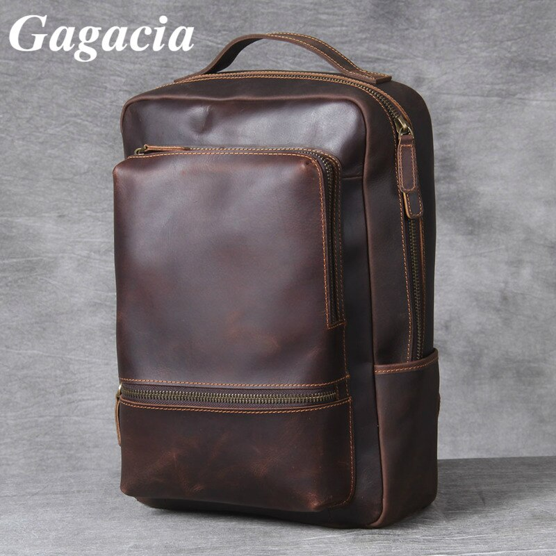 Gagacia New Genuine Leather Vintage Backpack Luxury Crazy Horse Cowhide Backpacks Male Handmade Retro Laptop Backpack For 14