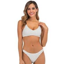 Maillots de bain Bikinis 2020 Mujer Sexy rayé 2 pièces maillot de bain fendu femmes Push-Up taille basse bain Biquini ensemble maillots de bain maillot de bain