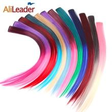 """AliLeader 87 Farbige Lange Gerade Ombre Synthetische Haar Extensions Reine Clip In Einem Stück Streifen 20 """"Haarteil Für Frauen"""