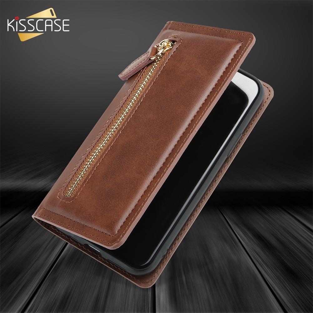 KISSCASE Retro Business Funda de cuero para Samsung Note10 Capa magnética con cremallera libro cubierta para Samsung Note 10 Plus S10 S10 Plus