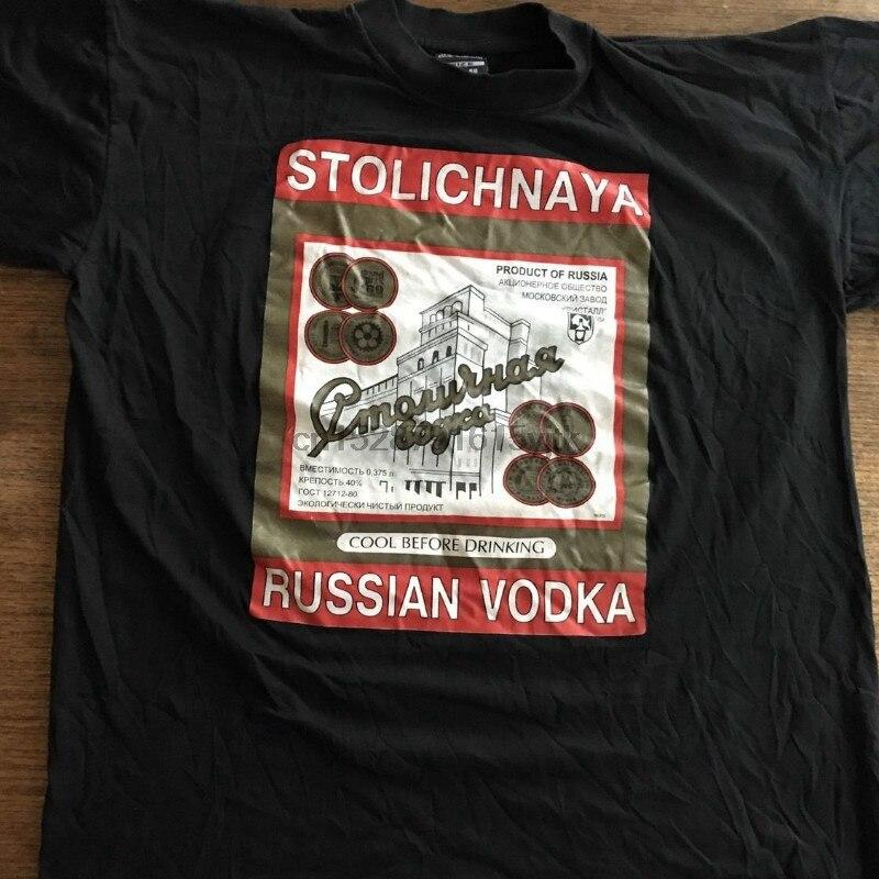 2019 nueva moda MenXl Stolichnaya ruso Vodka Rusia licor negro suave camiseta rara importación