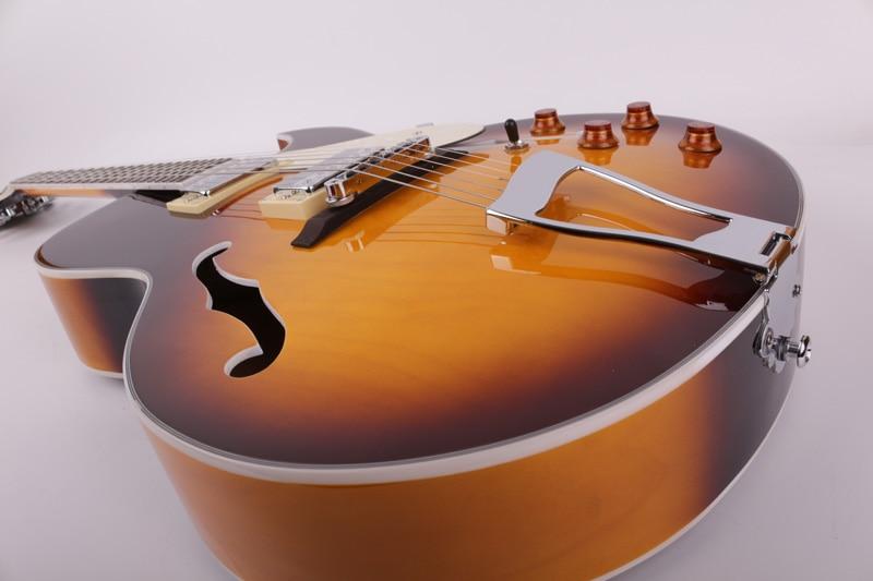 Good quality f maple jazz hollow body f hole sunburst electric guitar free shipping enlarge