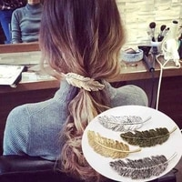 fashion women leaf feather hair clip hairpin barrette bobby pins hair accessories women party jewelry