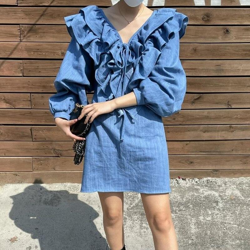 CMAZ 2021 Summer Sexy V-Neck Streetwear Ruffle Long Sleeve A Line Mini Fashion Women Dress Female Party Clubwear 1680#