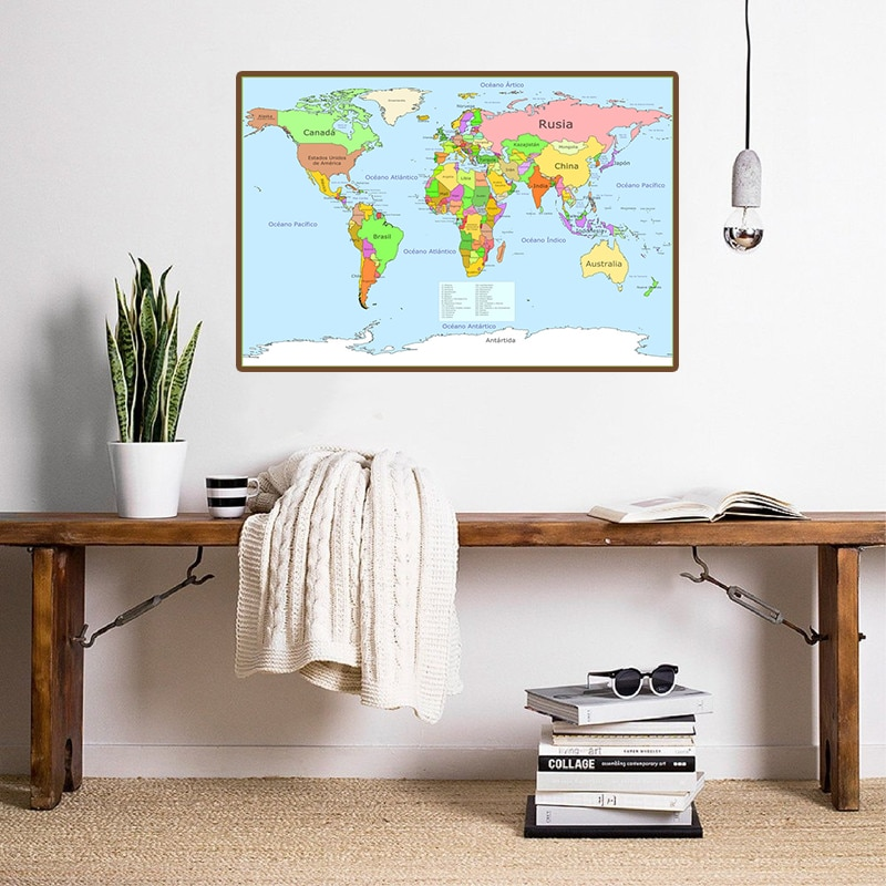 magic world map wallpaper wall stickers for kids rooms bedroom sticker painting poster home decoration accessories 59*42cm The World Political Map Modern Wall Poster Canvas Painting Bedroom Home Decoration Study Supplies In Spanish