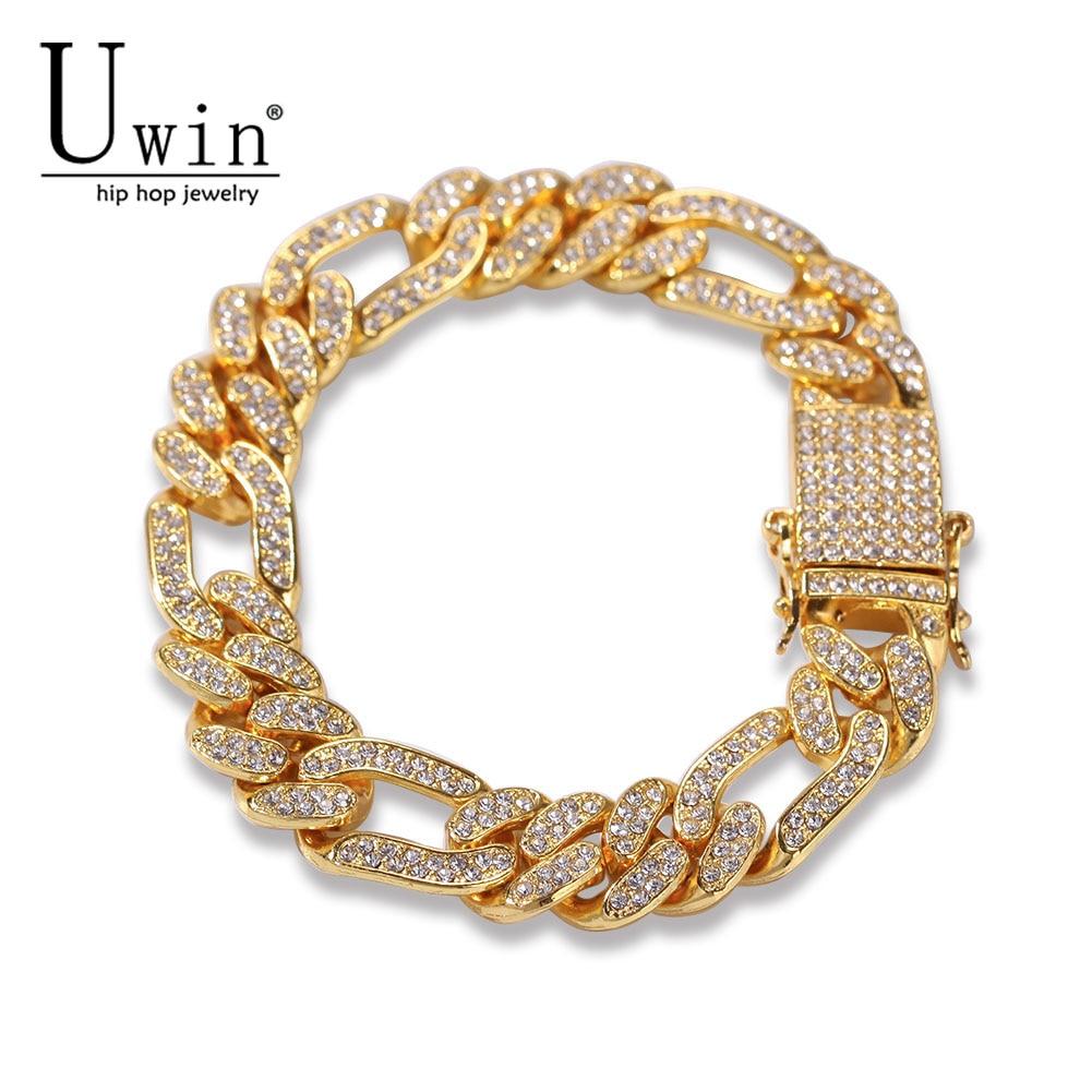 Uwin Figaro Link Bracelet 13mm Cuban Iced Out Rhinestones Fashion Hip Hop Punk Style Gold silver color Men Women Drop Shipping