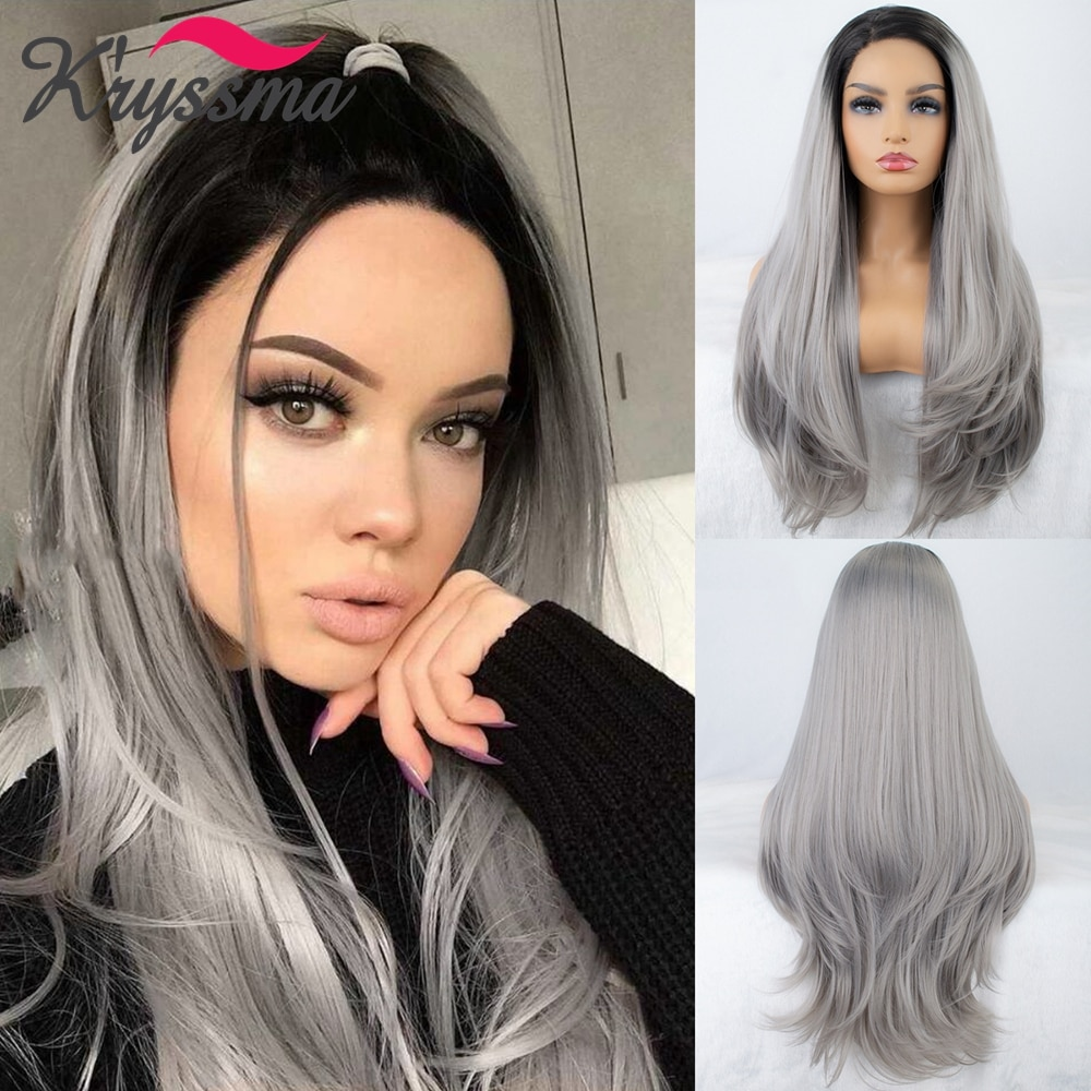 Kryssma Long Straight Ombre Grey Synthetic Lace Front Wig Dark roots 13x4 Lace Wigs for Black Women Heat Resistant Cosplay Hair