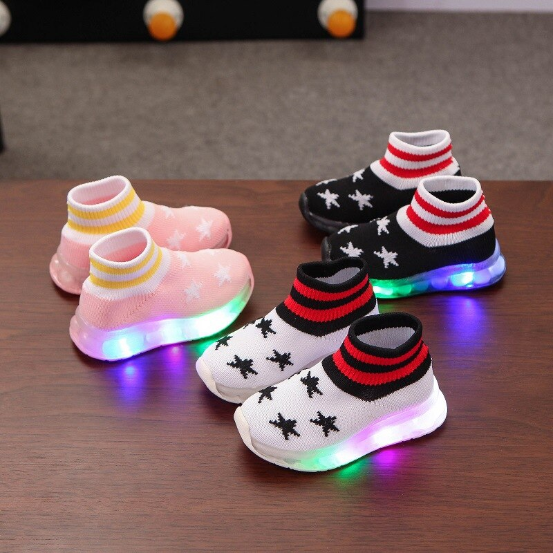 Fashion Stars First Walkers With Lighted Hot Sales High Quality Baby Girls Boys Shoes Lovely Cute Sock Single Boots