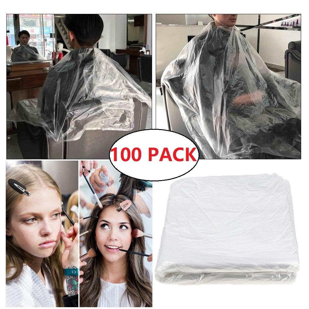 100x capa de corte de pelo desechable Clear Barber Home chal delantal vestido + 8x Clips de pelo