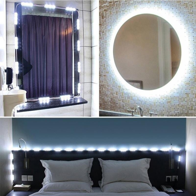 Juego de luces de espejo de maquillaje Hollywood, espejo de tocador regulable redondo de 10 pies y 60 LED, tocador con mando a distancia para regalo de Pascua