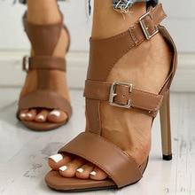 2021 été Euro Style américain Super haut talon femmes sandales mode ceinture boucle pied anneau Bandage métal décoratif sandales