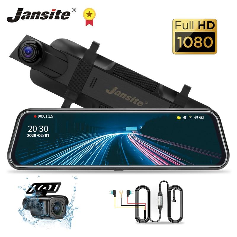 "Jansite 10 ""cámara de salpicadero DVR con pantalla táctil para coche cámara de lente de transmisión media derecha Anti-interferencia WDR lapso de tiempo cámara de vídeo registradora trasera"