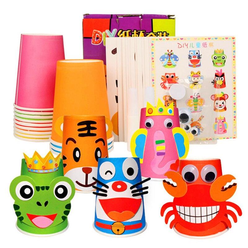 Набор из 12 предметов, наклейки на бумажные стаканчики, Наборы для творчества и творчества для детей, детская игрушка Knut, детская игрушка