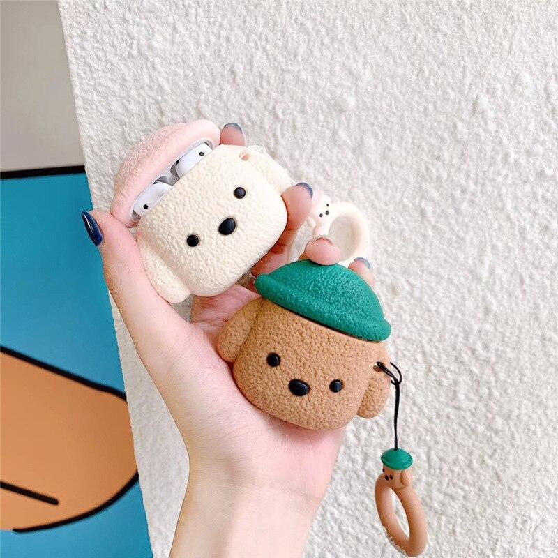 Чехол для Airpods 1/2, милый плюшевый мультяшный 3D чехол для Мишки Тедди с брелоком, мягкий силиконовый защитный чехол, чехол для наушников, аксес... чехол