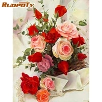 ruopoty 5d diy diamond painting flower vase full square drill new arrival mosaic embroidery rose rhinestone pictures decor