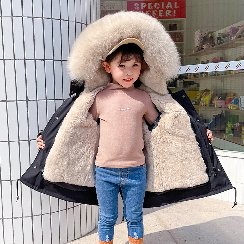 winter thick warm baby girl jackets long real fur boy coat thick windproof children windbreaker padded teenage kids snow clothes