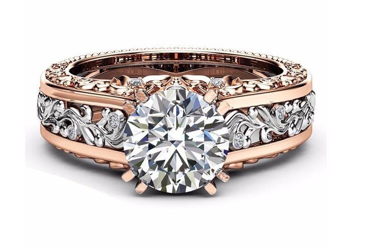 Ypd17 925 anel de noivado de luxo feminino incrustado com zircão