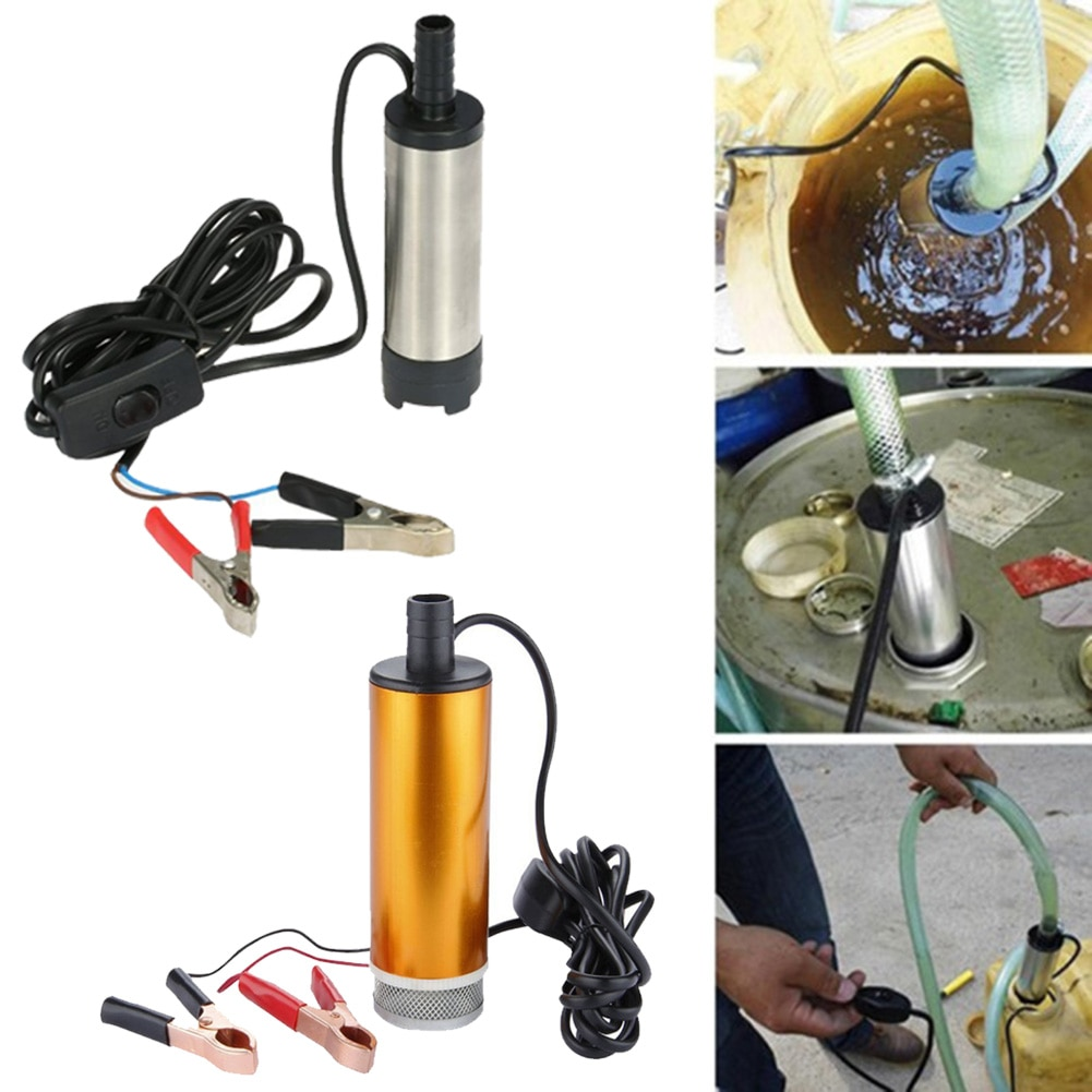 portable mini 12v 24v dc electric submersible pump for pumping diesel oil water aluminum alloy shell 12l min fuel transfer pump DC 12V/24V Stainless Steel Electric Submersible Water Pump Fuel Water Oil Fluid 8500r/min Transfer Pump Dropshipping