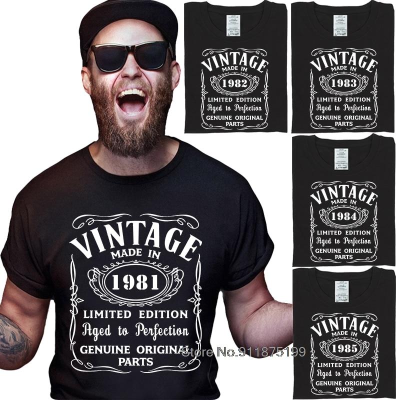 80s Винтаж футболка сделано в 1981-1985 все оригинальные Запчасти футболка подарок на день рождения дизайн хлопок Винтаж мужской футболки печать...