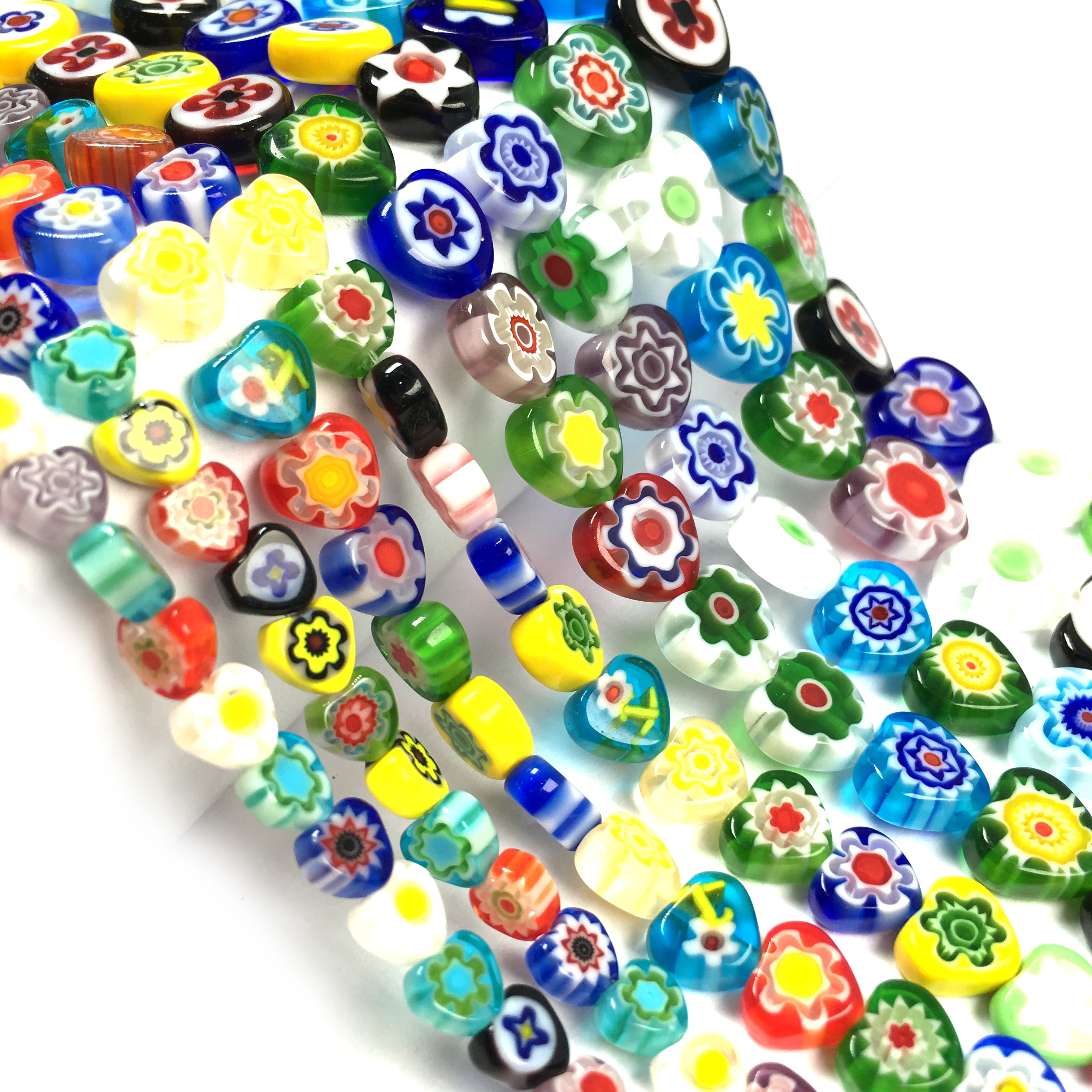 Millefiori Flower Loose Beaded Hearts Lampwork Glass Beads For Jewelry Making Bracelet DIY Necklace Jewelry Findings Strand 14''  - buy with discount