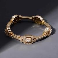 personalized 8 inch zircon hip hop bracelet for women geometry cz chain girl high quality jewelry