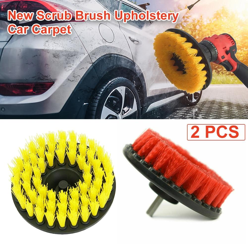 Kit de cepillo de taladro eléctrico cepillo de limpieza redondo de plástico para neumáticos de coche de cristal de alfombra cepillos de Nylon taladro limpiador eléctrico 2 uds