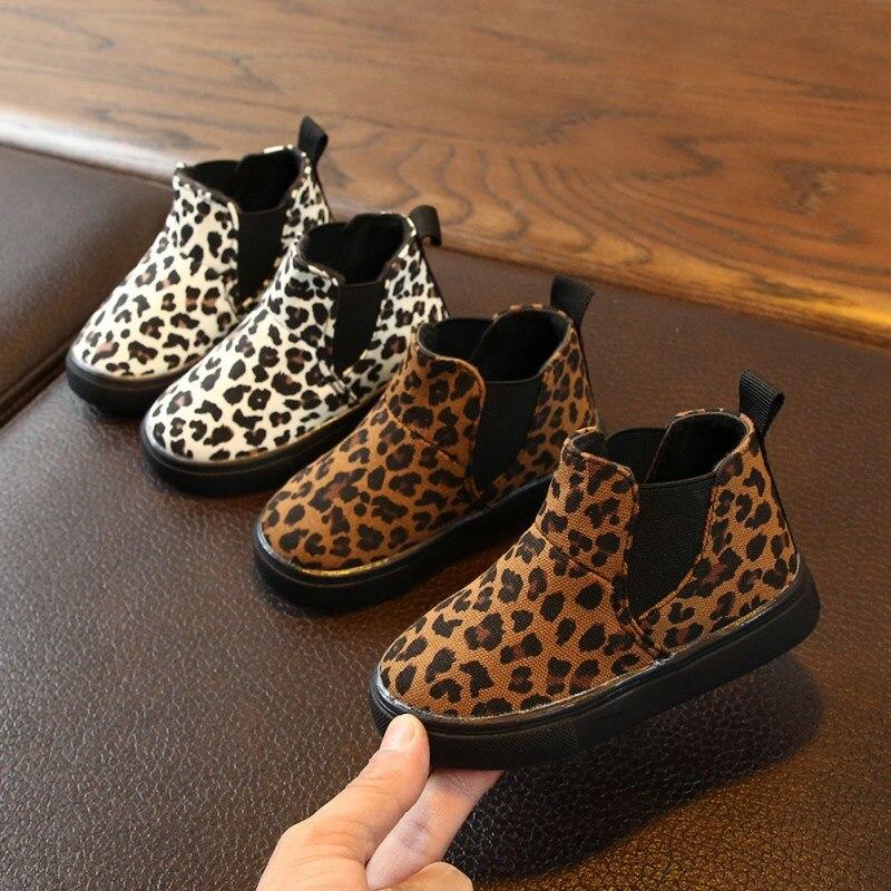 Baby Kids Boots Fashion Winter Boys Girls Snow Boots Children Martin Boots Baby Cute Leopard Pattern
