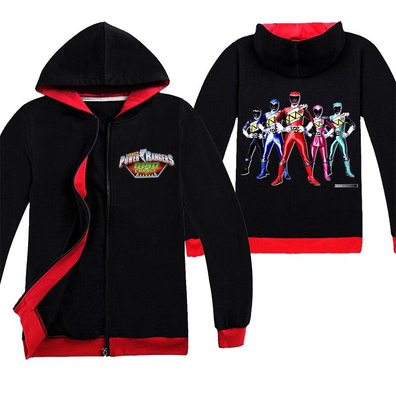 Moda Power Ranger Lovely niños cremallera abrigo ropa Little Cotton Big Kids manga larga niños ropa niñas Tops dibujos animados