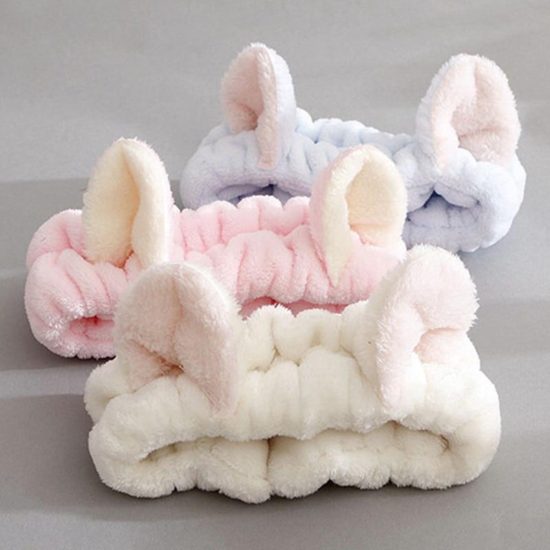 Cat Coral Fleece Head Bands for Women Cute Soft Hair Bows Headband Hairbands Wash Face Make Up Turba
